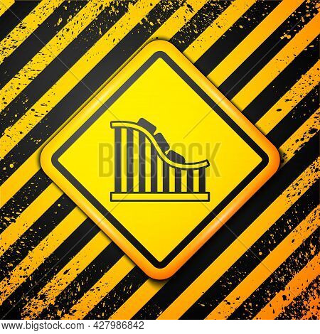 Black Roller Coaster Icon Isolated On Yellow Background. Amusement Park. Childrens Entertainment Pla