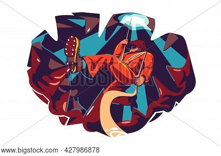 Professional Cave Explorer Climbing Inside Vector Illustration. Guy Hangs On Rope Flat Style. Extrem