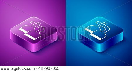 Isometric Traditional Brewing Vessels In Brewery Icon Isolated On Blue And Purple Background. Beer B