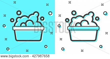Black Line Plastic Basin With Soap Suds Icon Isolated On Green And White Background. Bowl With Water