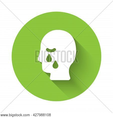 White Man Graves Funeral Sorrow Icon Isolated With Long Shadow Background. The Emotion Of Grief, Sad