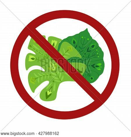 Ban On The Export Of Tropical Plants. Folk Patterned Monstera And Creeper Leaves In The Prohibition