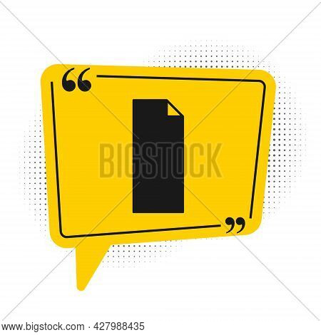 Black Grip Tape On A Skateboard Icon Isolated On White Background. Yellow Speech Bubble Symbol. Vect