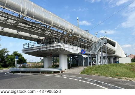 Station Of Marconi Express, People Mover. Elevated Railway From Marconi Airport To Central Train Sta