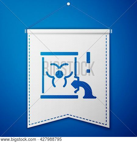 Blue Radioactive Waste In Barrel Icon Isolated On Blue Background. Barrel With Radioactive And Toxic