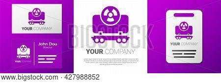 Logotype Radioactive Cargo Train Wagon Icon Isolated On White Background. Freight Car. Railroad Tran
