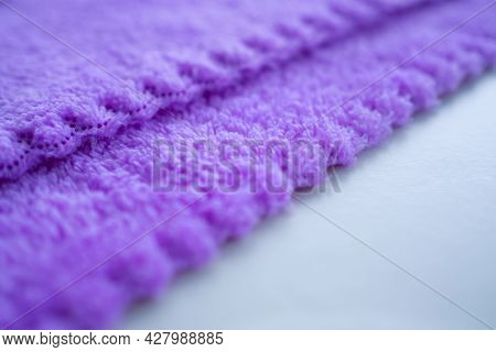 Purple Towel Background. Wave Soft Fabric. New Modern Design Luxurious Light And Soft Wave Smooth Sh