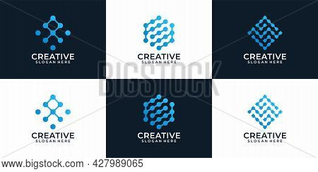 Set Of Creative Modern Abstract Technology Logo Design For Business Company. Logo Can Be Used For Ic
