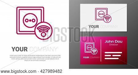 Logotype Line Smart Electrical Outlet System Icon Isolated On White Background. Power Socket. Intern
