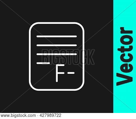 White Line Exam Paper With Incorrect Answers Survey Icon Isolated On Black Background. Bad Mark Of T