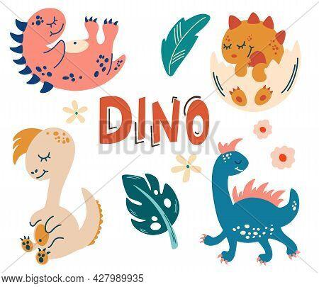 Set With Cute Dinosaurs. Cute Baby Animals. Reptile. Lizard. Dinosaur Era Wildlife. Kids Vector Illu