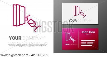 Logotype Line Wine Tasting, Degustation Icon Isolated On White Background. Wooden Barrel For Wine Wi
