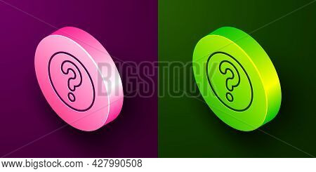 Isometric Line Unknown Search Icon Isolated On Purple And Green Background. Magnifying Glass And Que