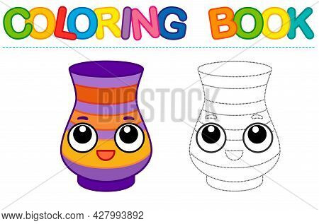 Coloring Page Funny Smiling Vase. Educational Tracing Coloring Book For Childrens Activity. Trace Da
