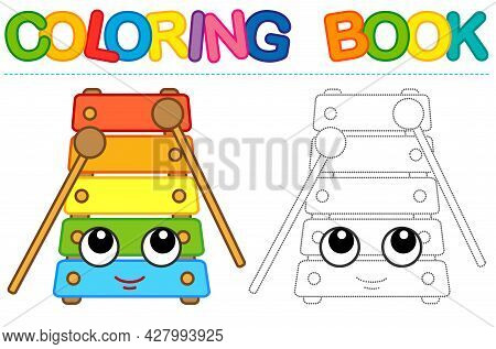 Coloring Page Funny Smiling Xylophone. Educational Tracing Coloring Book For Childrens Activity. Tra