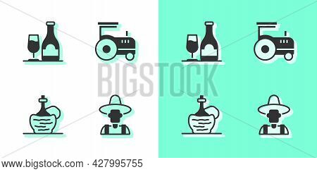 Set Farmer In The Hat, Wine Bottle With Glass, Italian Fiasco And Tractor Icon. Vector