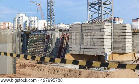 Construction Of A Monolithic Reinforced Concrete House. Modern Building Technologies. Monolithic Rei