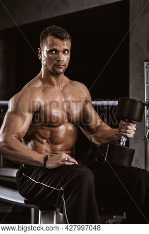 Fitness in gym, sport and healthy lifestyle concept. Handsome athletic man with naked torso on workout with dumbbells. Bodybuilder male model resting after hard training. Heavy barbell on background.