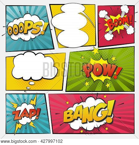 Comic Cartoon Sound Bubble Speech. Set Comic Speech Bubble For Text. Vector Comic