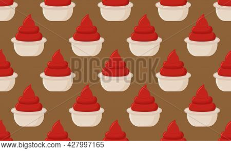 Ketchup Sauce Seamless Pattern. Tomato Catsup Repeat Food Wallpaper Pattern With Sauce Cup Bowl.