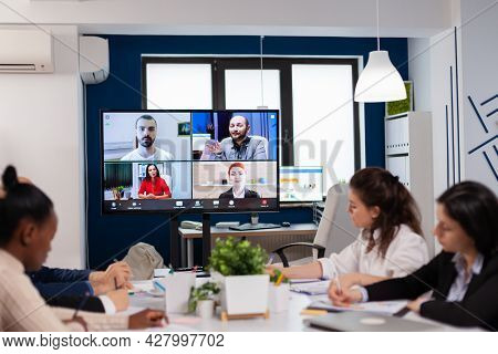 Emplyees Workers Having Webcam Group Conference With Coworkers Speaking On Video Call. Business Peop