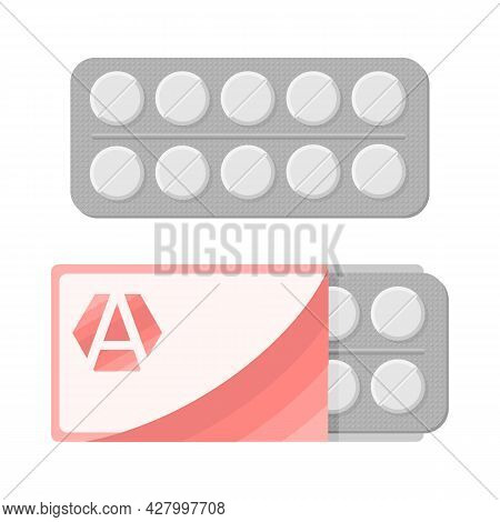 Blister With Pills For Illness And Pain Treatment. Medical Drug Package For Tablet: Vitamin, Antibio