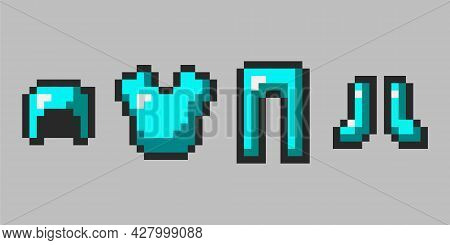 Emerald Pixel Armor Isolated On Gray Background. 8-bit Style Defense Drawn In Flat Style. Pixel Game