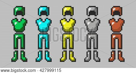 Big Set Of Pixel Armor Isolated On Gray Background. Emerald, Diamond, Gold, Iron, Leather Armor. The