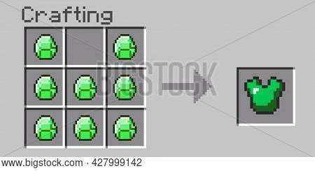 Pixel Menu Crafting. Craft Emerald Armor. Eight Bit Slab On A Gray Background. Pixel Game Window For