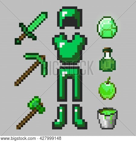Big Set Of Emerald Pixel Armor Isolated On Gray Background. Green Emerald Armor, Sword, Pickaxe, Ax,