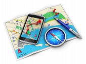 Mobile GPS navigation, travel and tourism concept: modern black glossy touchscreen smartphone with GPS navigation application magnetic compass pen and group of pushpins on city map isolated on white background poster