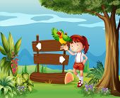 Illustration of aparrot and a girl beside a signboard in the forest poster