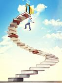 man hang on 3d book stair poster