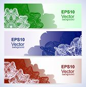 Set of abstract banners with patterns like as crocheting lace poster