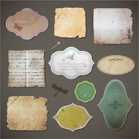 Vintage style labels and old paper sheets set - eps10