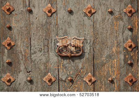Green Old Door With Doorhandle