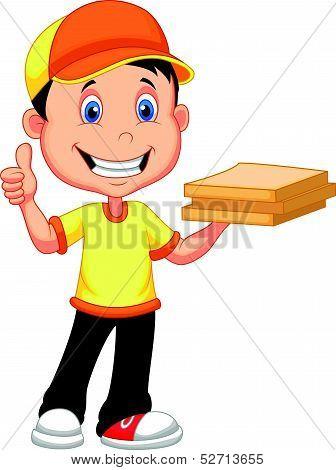 Delivery boy cartoon bringing a cardboard pizza box