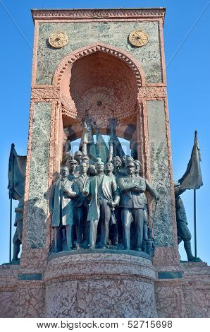 Republic Monument at Taksim Square in Istanbul, Turkey poster