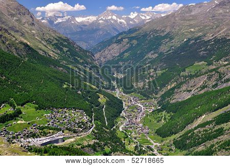 View of Valley Saastal in the canton Wallis , in the foreground the town of Saas Fee and   Saas Grund, Switzerland