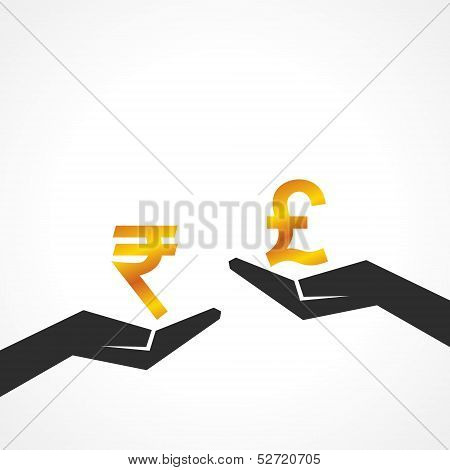 Hand hold rupee and pound symbol to compare their value stock vector