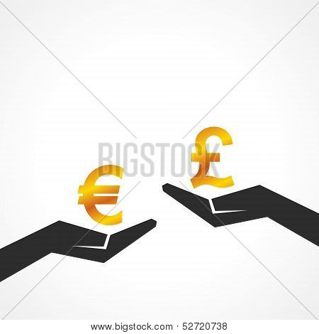 Hand hold euro and pound symbol to compare their value stock vector