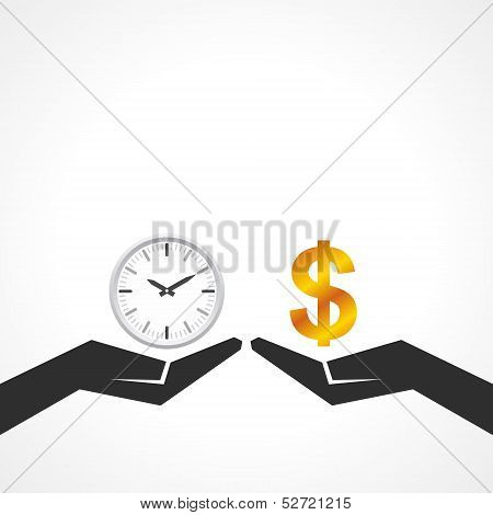 Hand hold dollar and clock symbol to compare their value stock vector