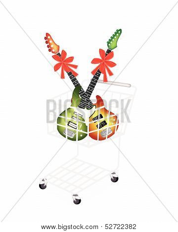 Electric Guitar With Red Ribbon In Shopping Cart