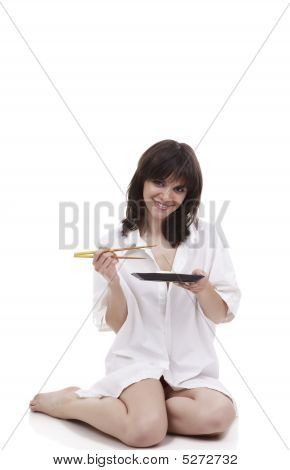 The Smiling Girl And Chopsticks