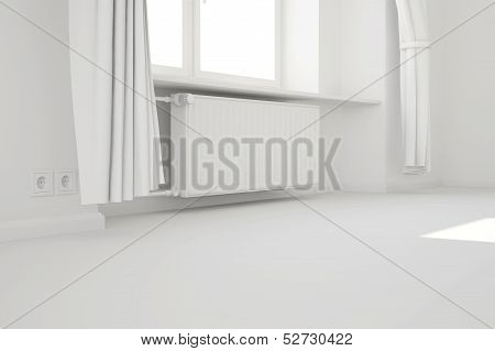 Empty White Room With Window And Heating System