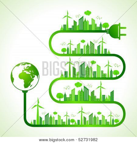 Illustration of ecology concept with earth icon- save nature