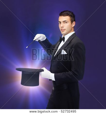 performance, circus, show concept - magician in top hat with magic wand showing trick poster