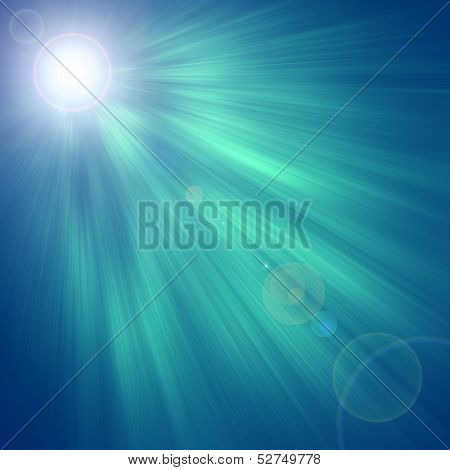 Green luminous rays, laser beams, abstract motion background poster