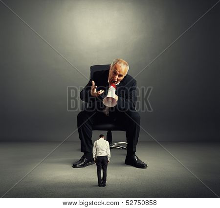 big angry boss screaming at small bad worker poster