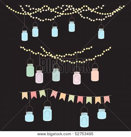 Vector Set of Hanging Glass Jar Lights and Bunting poster
